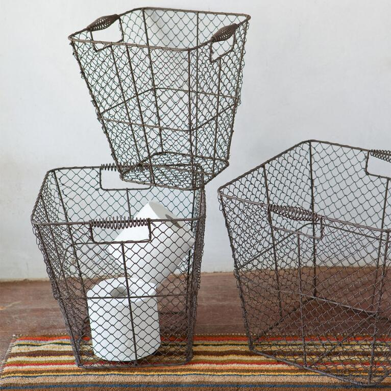 WIRE BASKETS, SET OF 3