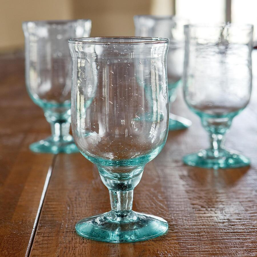 MEDELLIN RECYCLED GLASS GOBLETS, SET OF 4