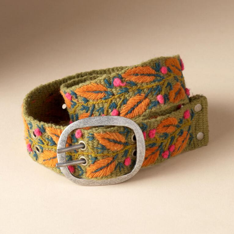 EMBROIDERED AUTUMN LEAVES BELT