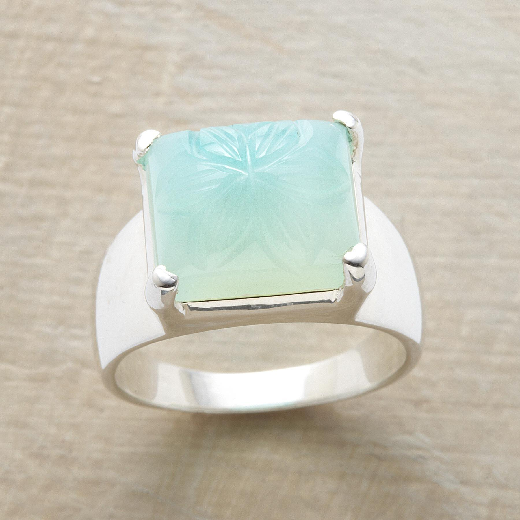 CHISELED CHALCEDONY RING: View 1