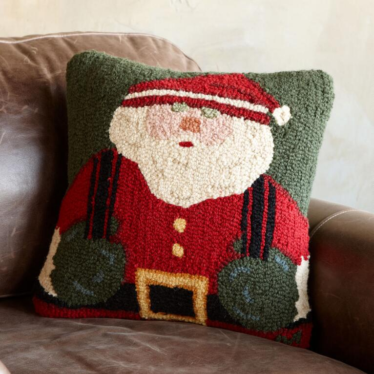 SUSPENDERED SANTA HOOKED PILLOW