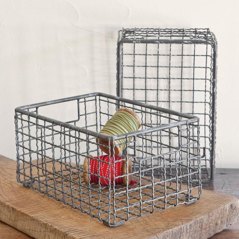 WIRE BASKETS, SET OF 2