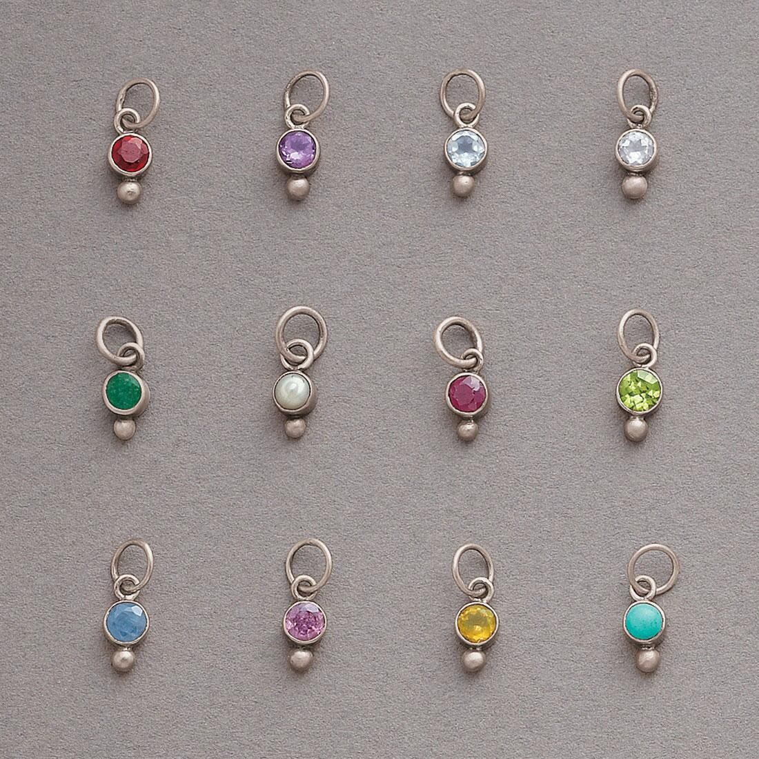 STERLING BIRTHSTONE BEZEL CHARMS: View 1