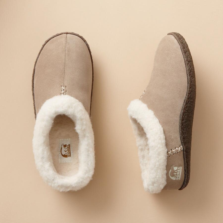 FLEECE LINED SUEDE SLIPPERS