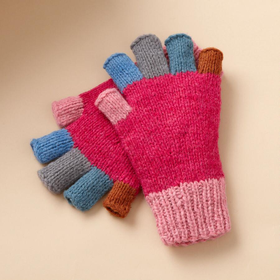 COLOR BLOCK FINGERLESS GLOVES