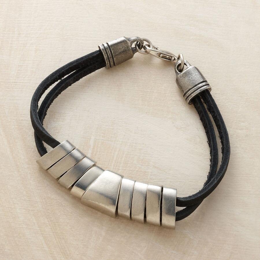 PEWTER & LEATHER BRACELET