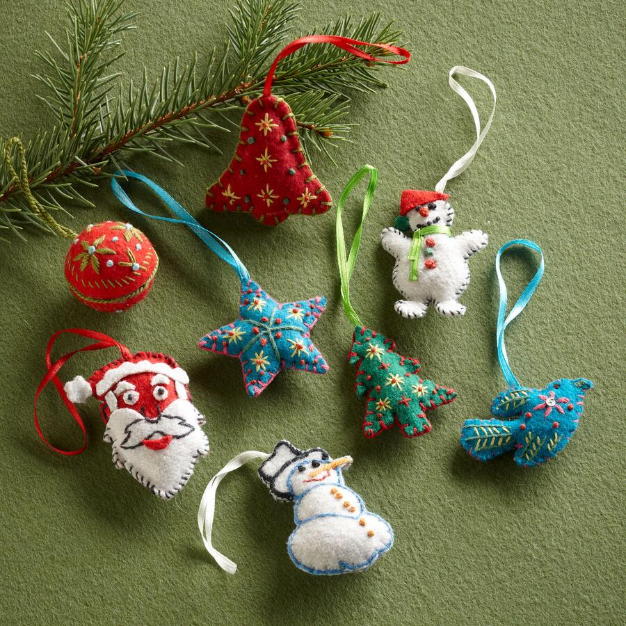 NEEDLEWORK ORNAMENTS, SET OF 8