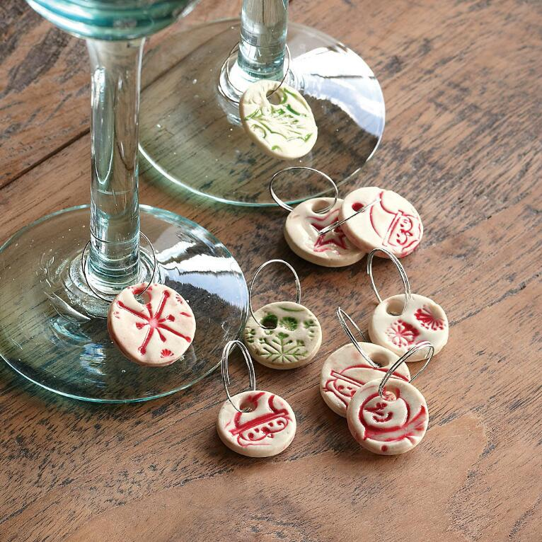 CERAMIC WINE CHARMS, S/12