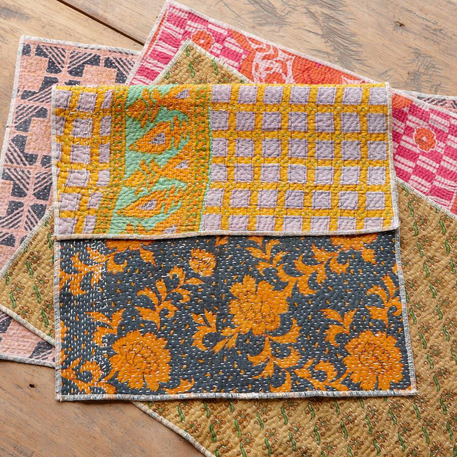COTTON SARI KANTHA PLACEMATS, SET OF 4