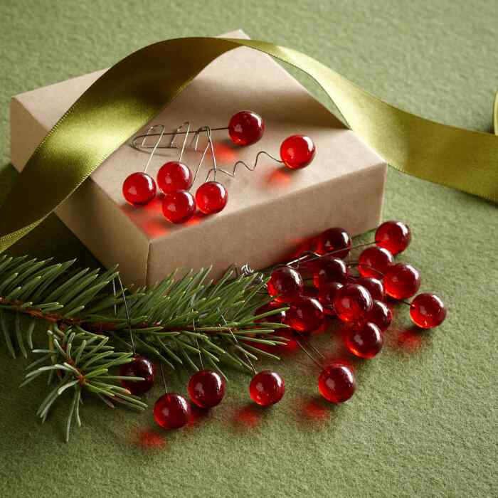 HOLLY BERRY ORNAMENTS, SET OF 24