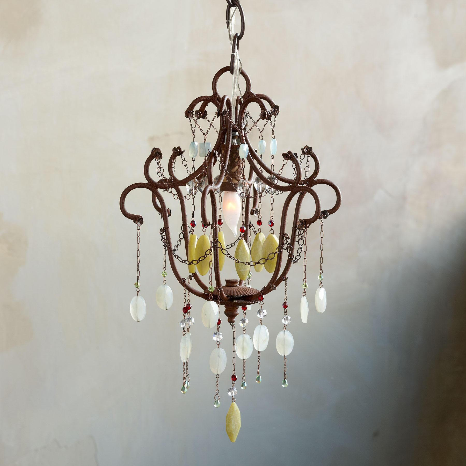GREEN JEWELED CHANDELIER: View 1