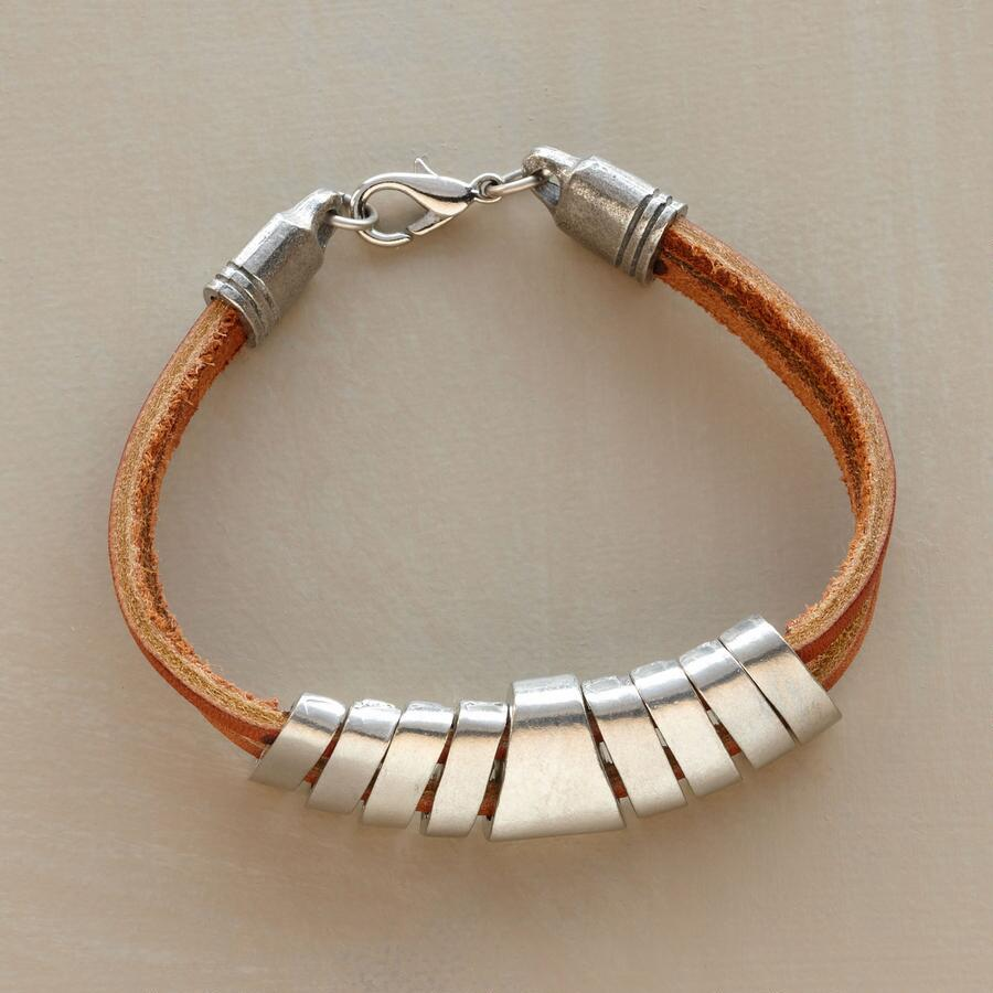 LEATHER AND PEWTER BRACELET