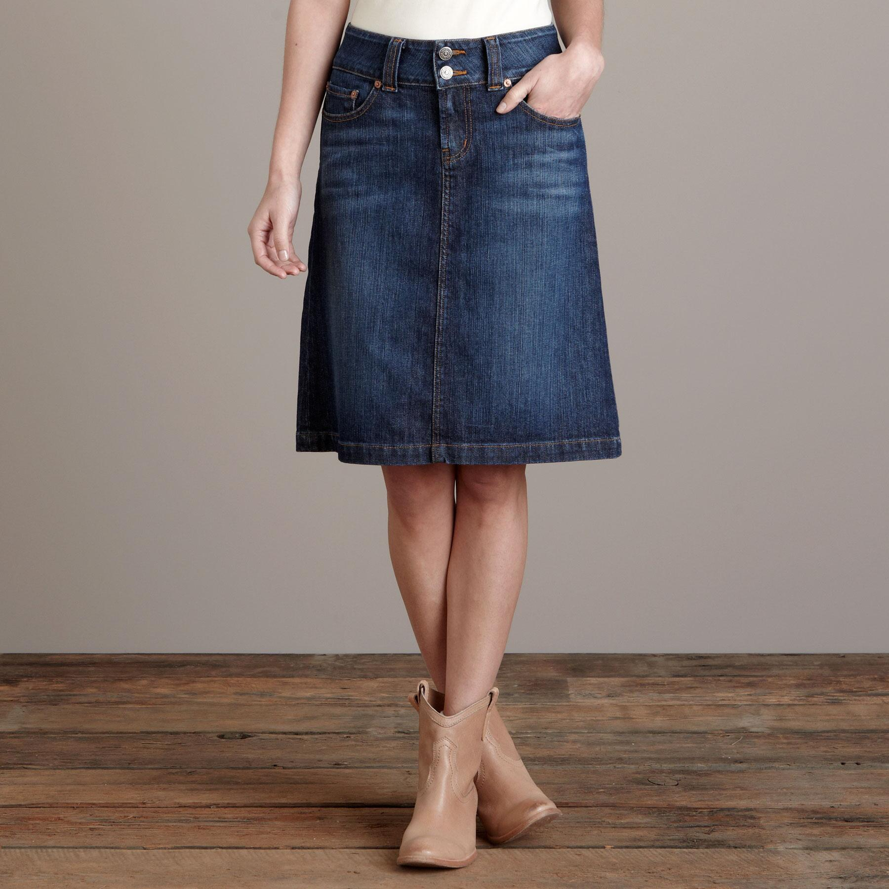 CLARE A-LINE DENIM SKIRT BY RED ENGINE: View 1