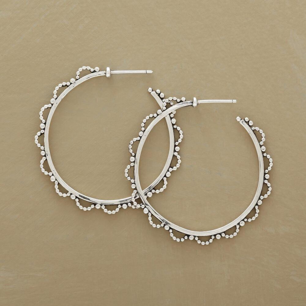 LACY BEADED HOOP EARRINGS: View 1