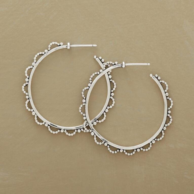 LACY BEADED HOOPS