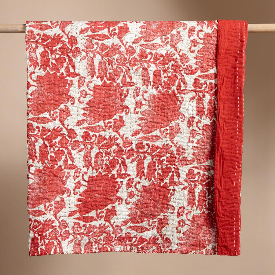 RED & WHITE FLORAL KANTHA QUILT