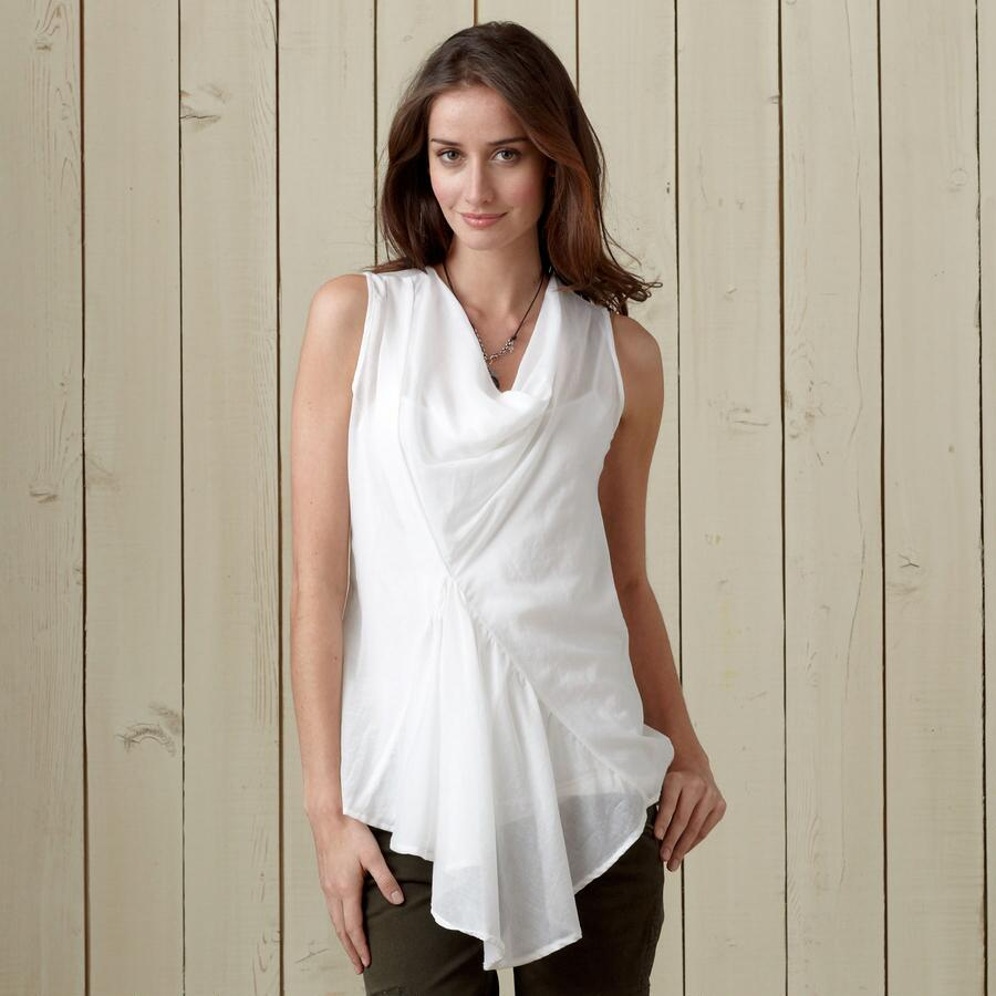 SONATA SILK-COTTON COWL NECK TANK
