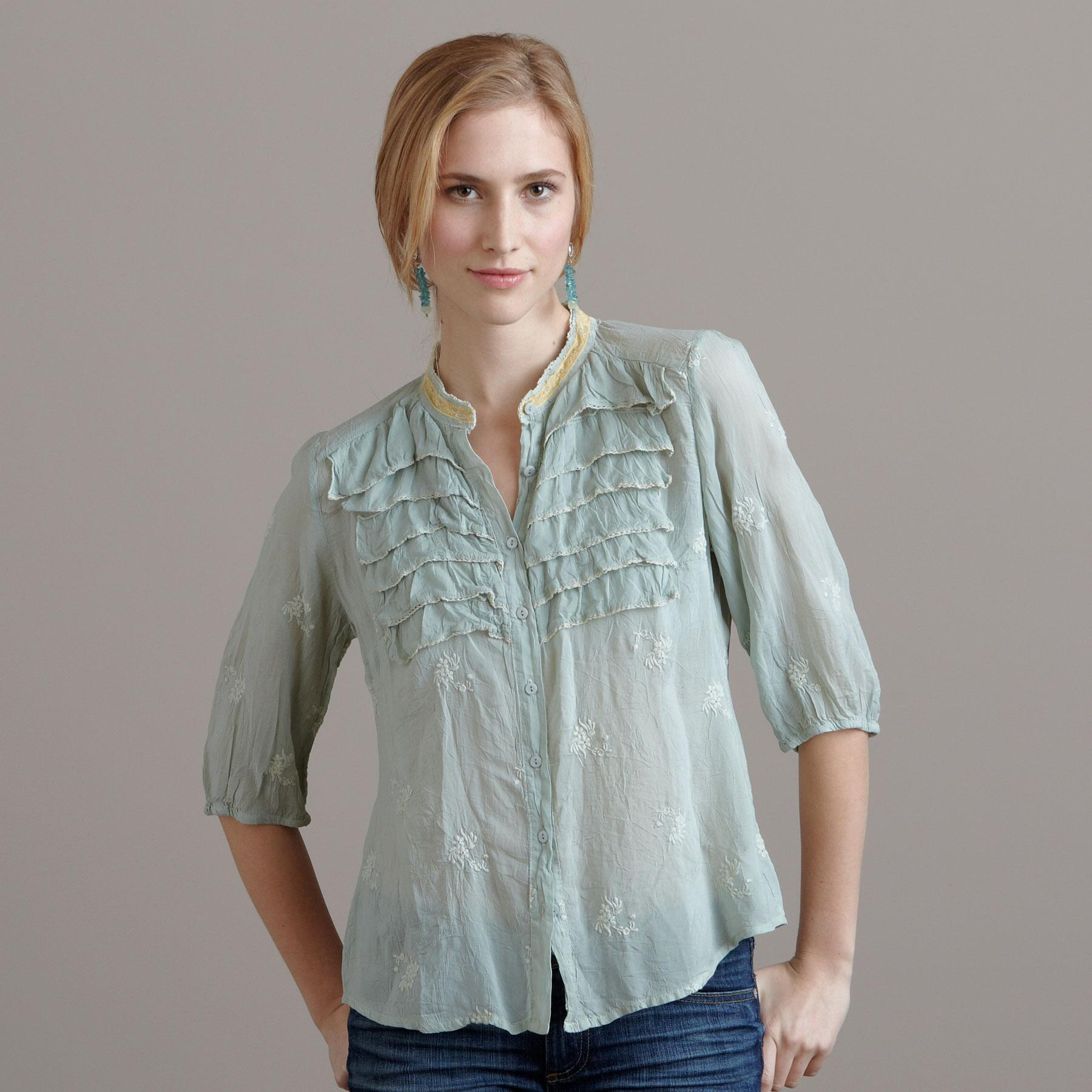 CELIE EMBROIDERED TOP: View 1