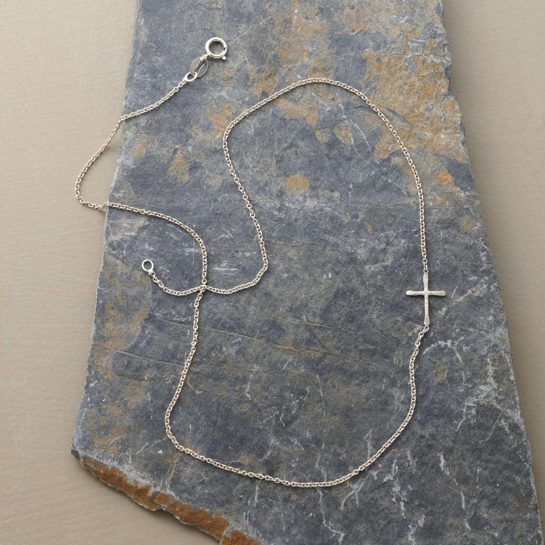 STERLING SILVER LINKED CROSS NECKLACE: View 2