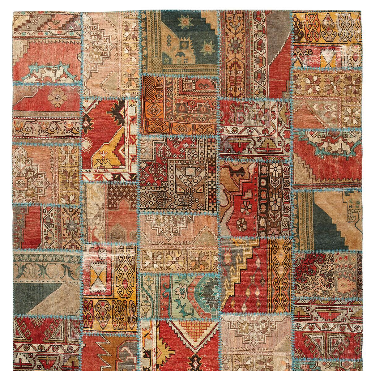 VINTAGE ANATOLIA PATCHWORK HAND-KNOTTED RUG: View 1