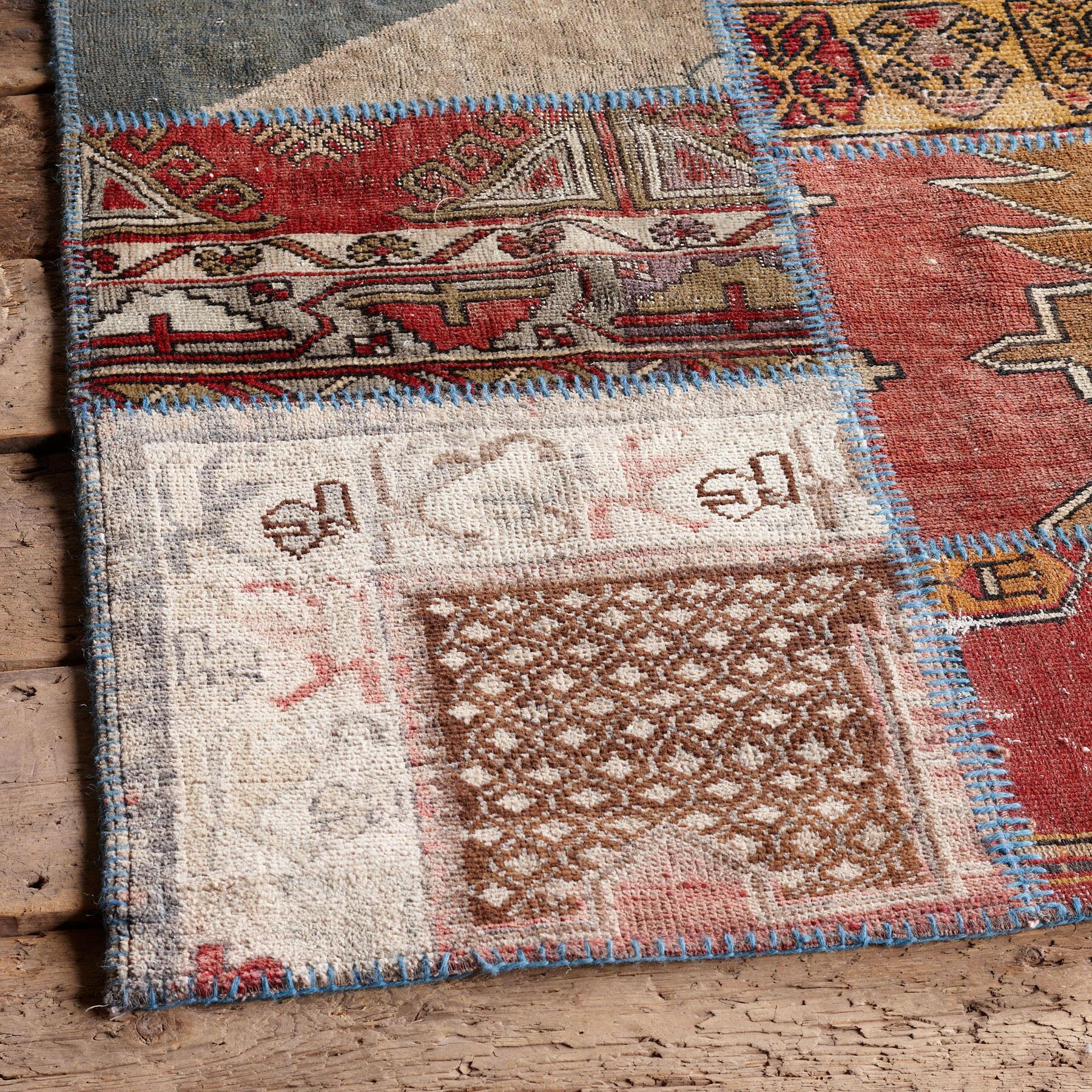 VINTAGE ANATOLIA PATCHWORK HAND-KNOTTED RUG: View 2