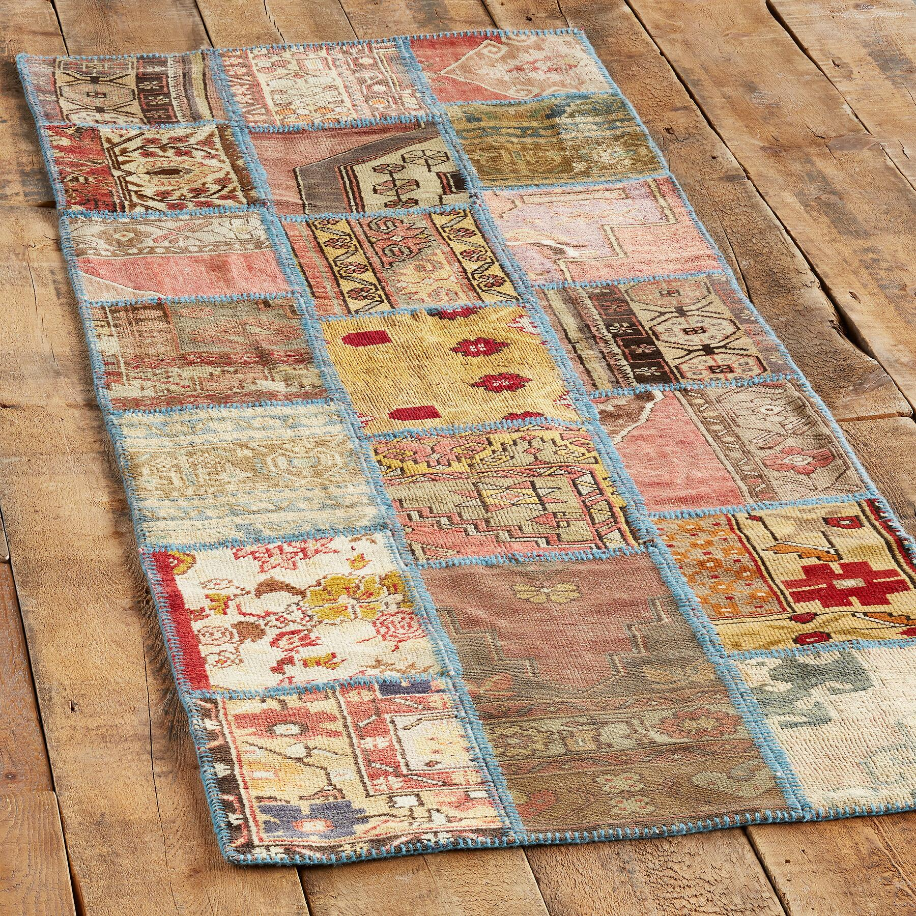 VINTAGE ANATOLIA PATCHWORK HAND-KNOTTED RUG: View 3