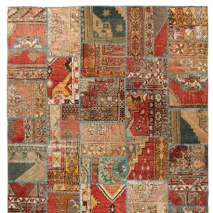 VINTAGE ANATOLIA PATCHWORK HAND-KNOTTED RUG, LARGE