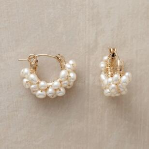 14KT GOLD FILLED FROTH OF PEARLS HOOPS