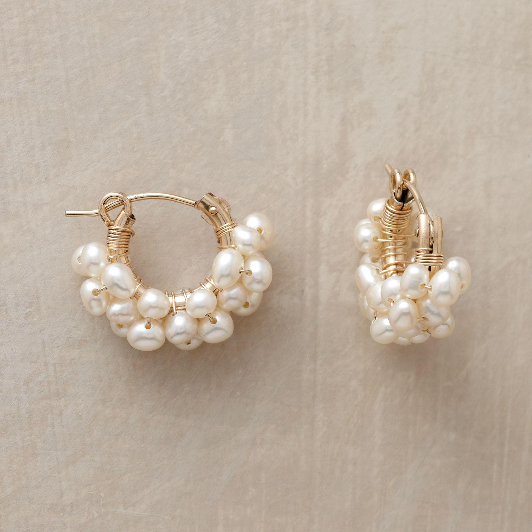 14KT GOLD FILLED FROTH OF PEARLS HOOPS: View 1