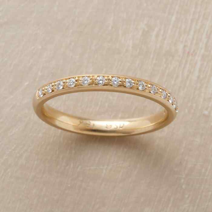 SINGLE ROW YELLOW GOLD PAVE DIAMOND RING