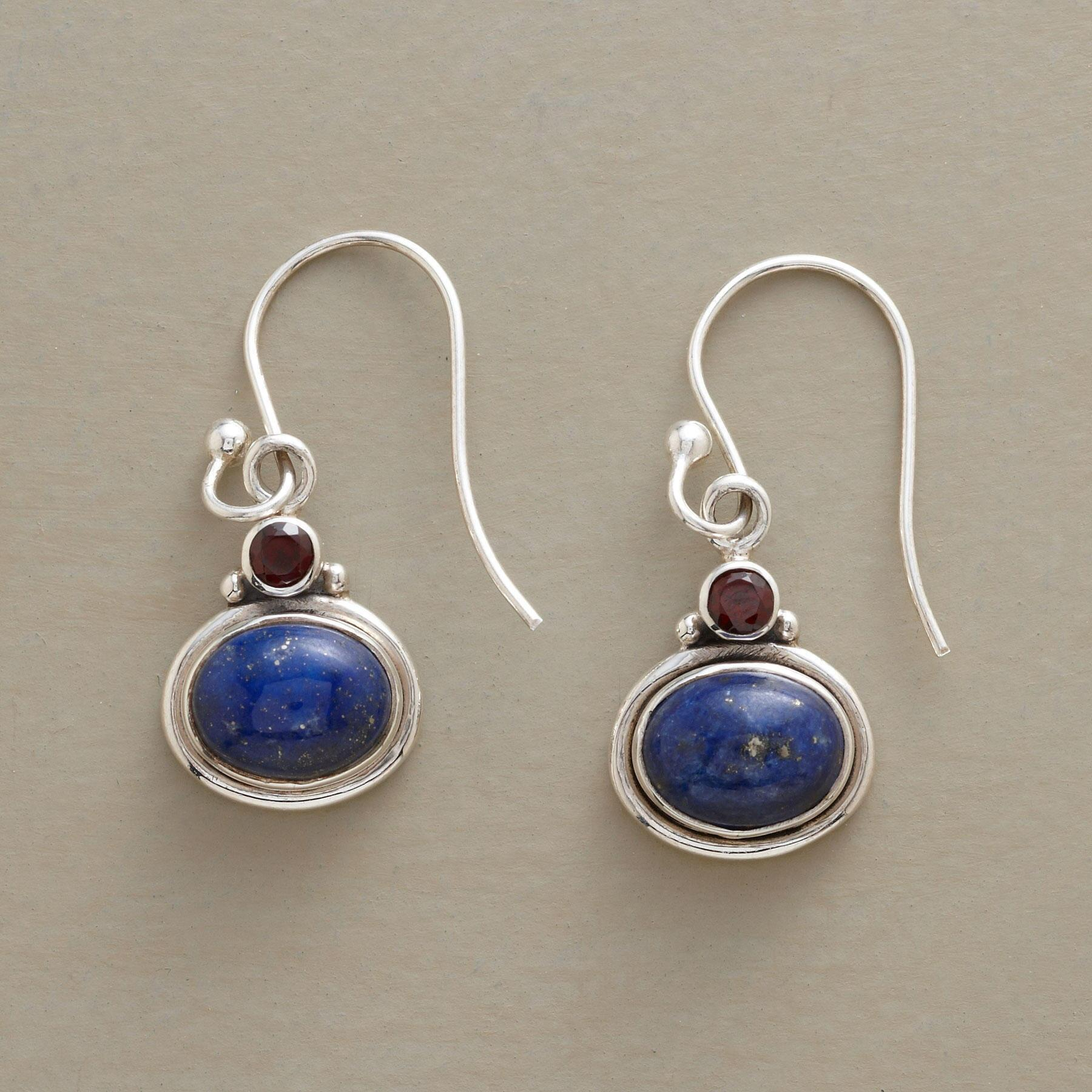 LAPIS & GARNET EARRINGS: View 1