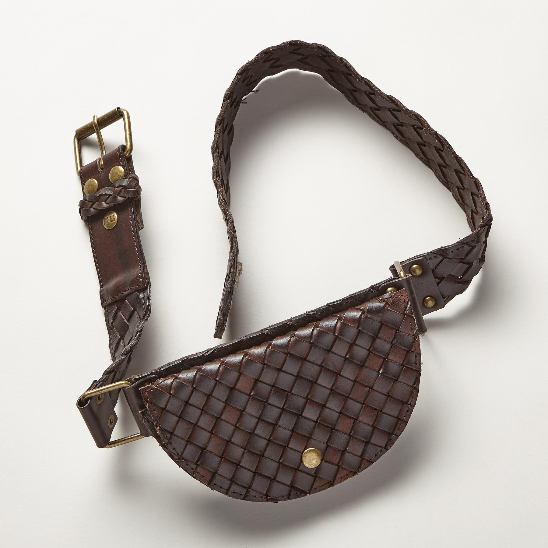 WOVEN LEATHER POUCH BELT: View 1