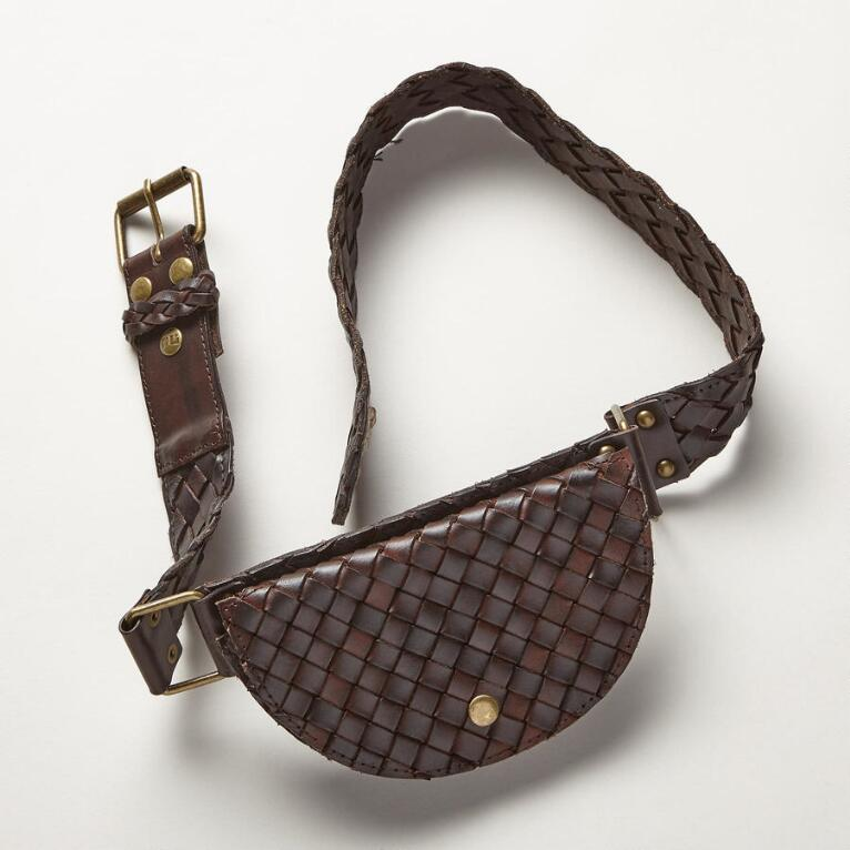WOVEN LEATHER POUCH BELT