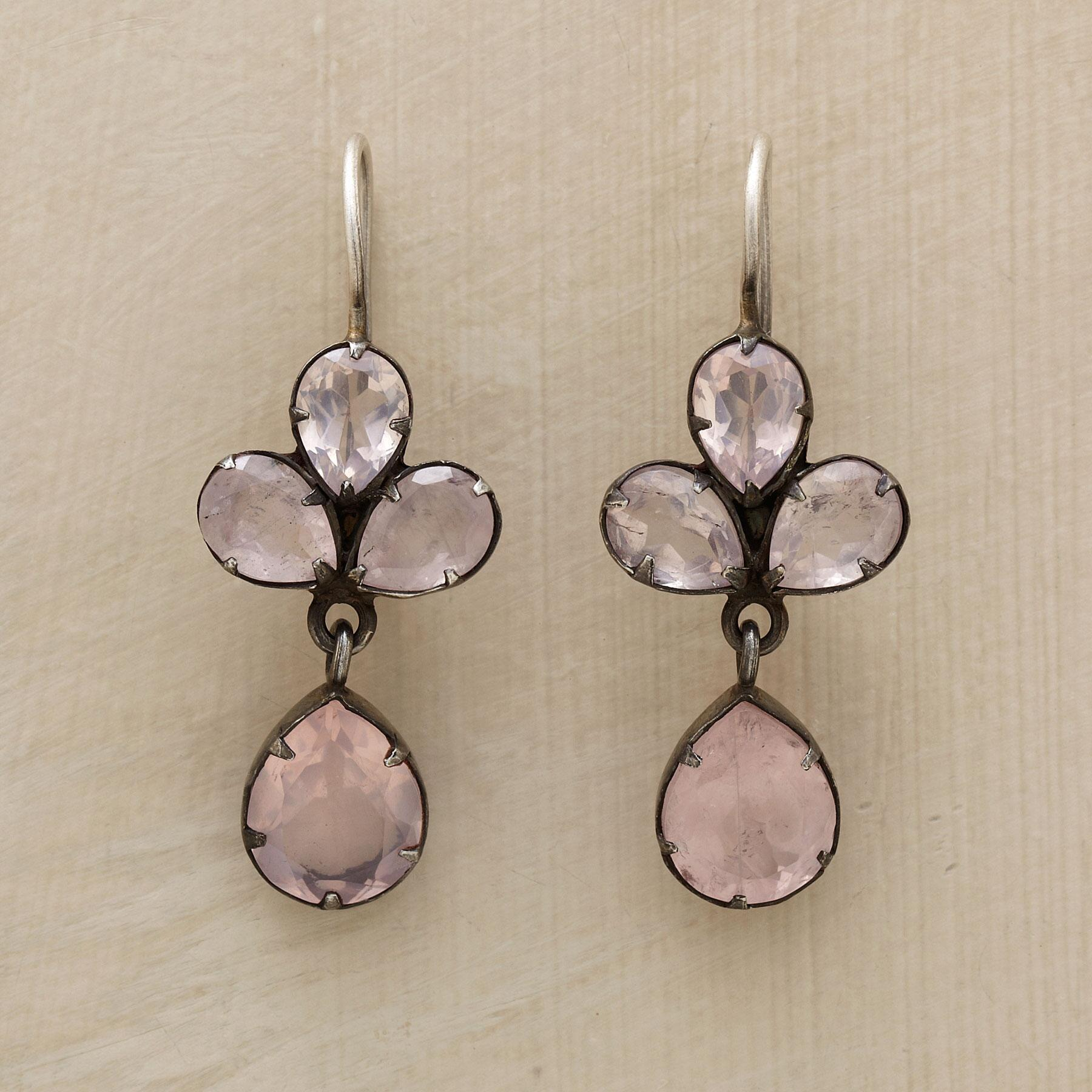 ROSE QUARTZ TREFOIL EARRINGS: View 1