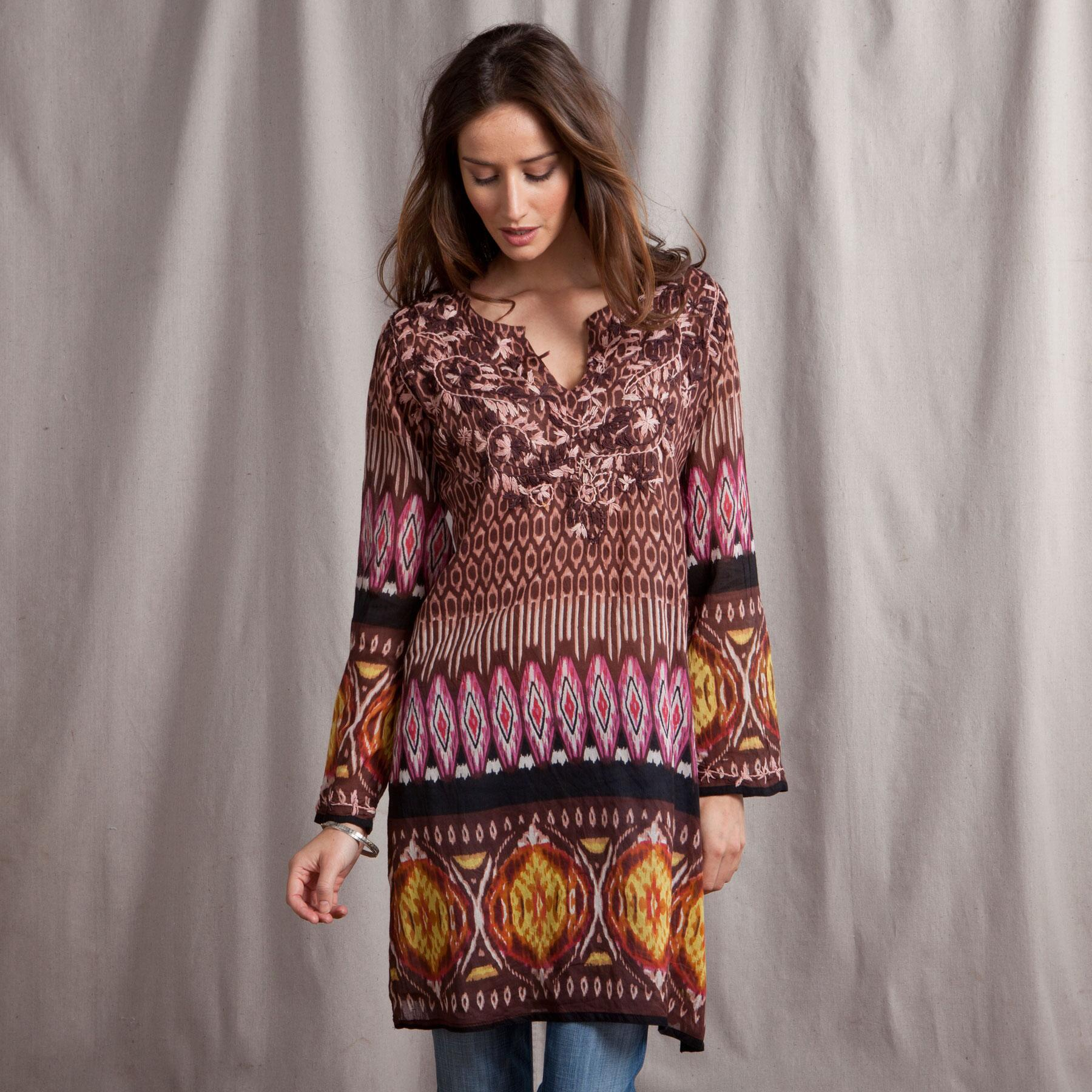 EMBROIDERED TRIBAL PRINT TUNIC: View 1