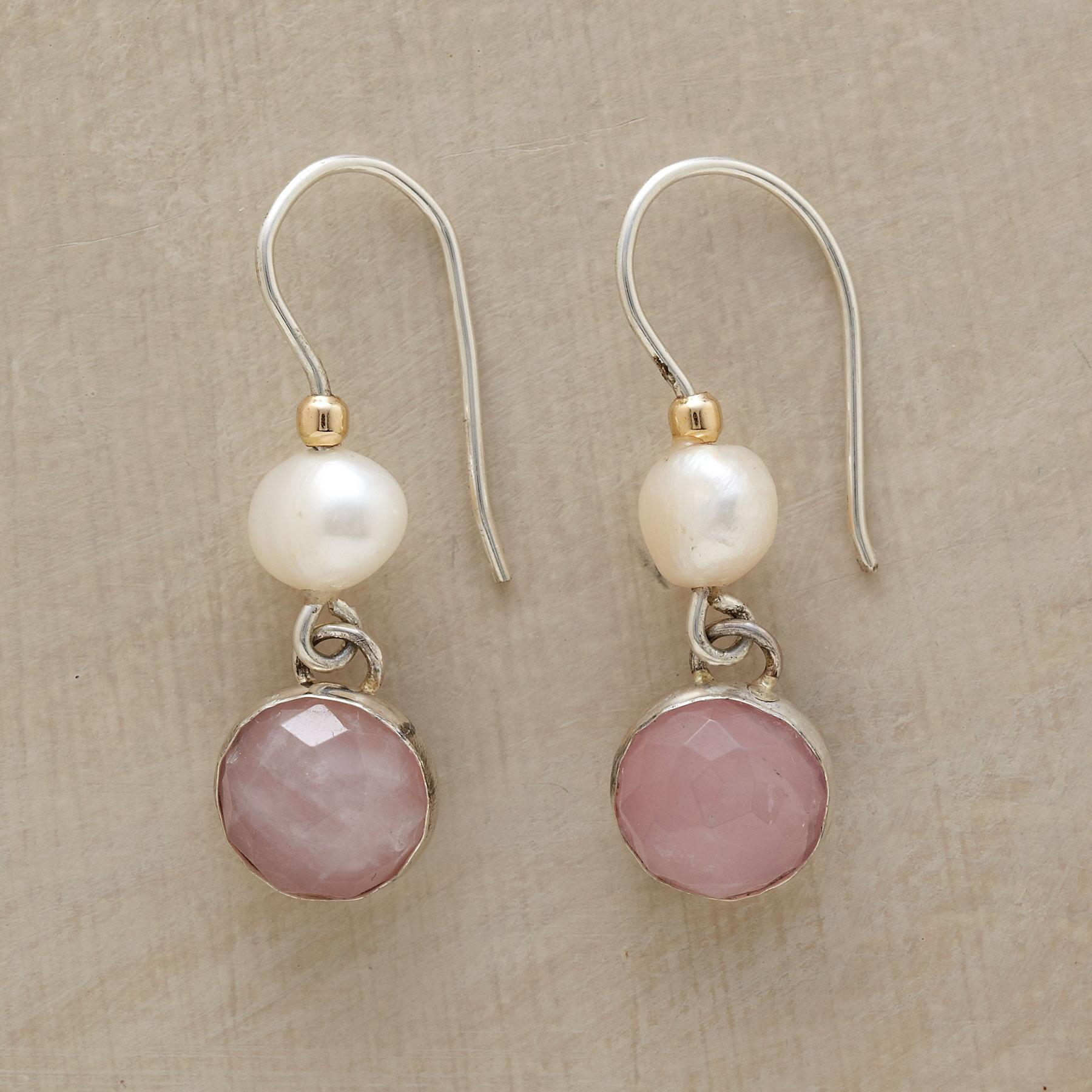 BLUSHING PINK AND PEARL EARRINGS : View 1