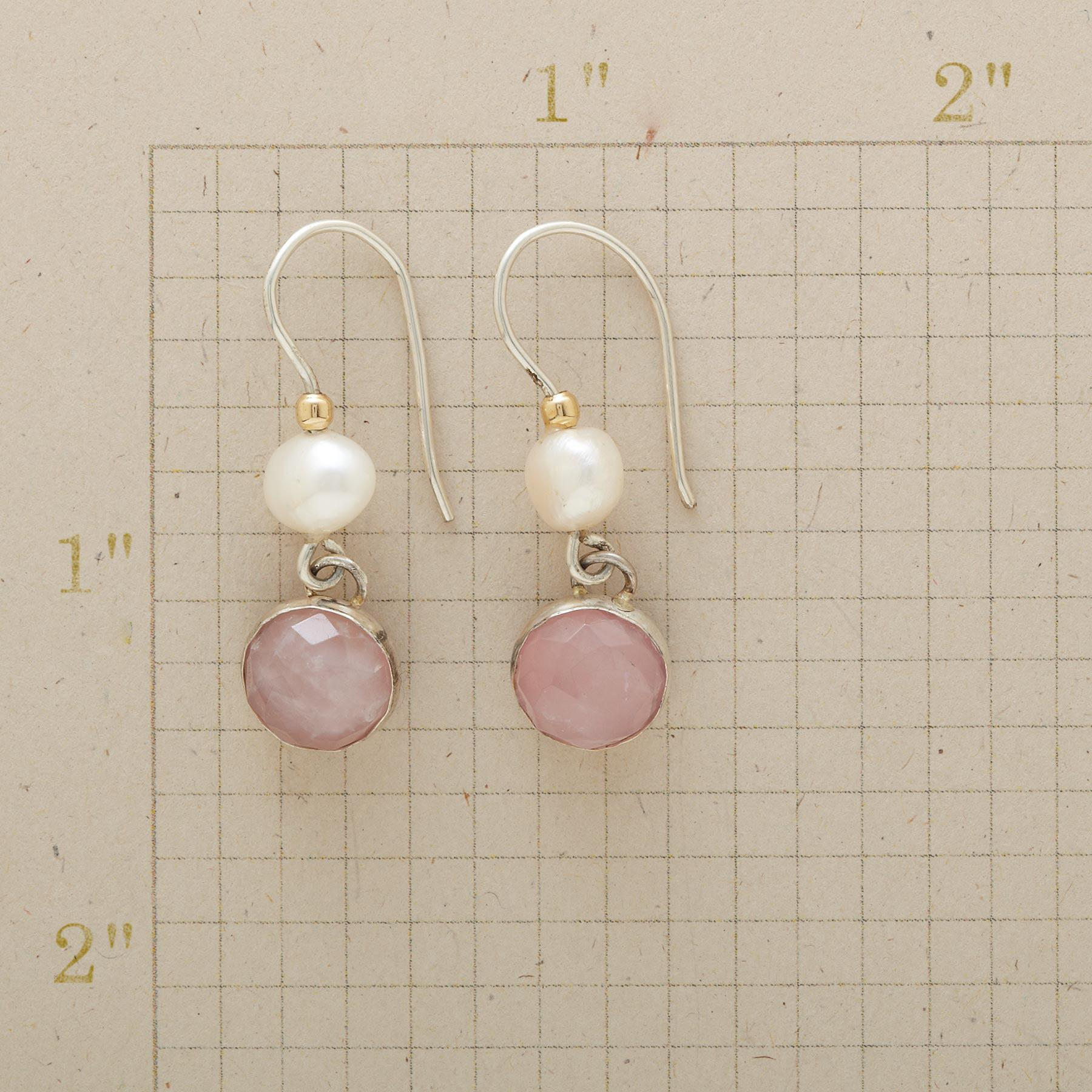 BLUSHING PINK AND PEARL EARRINGS : View 2