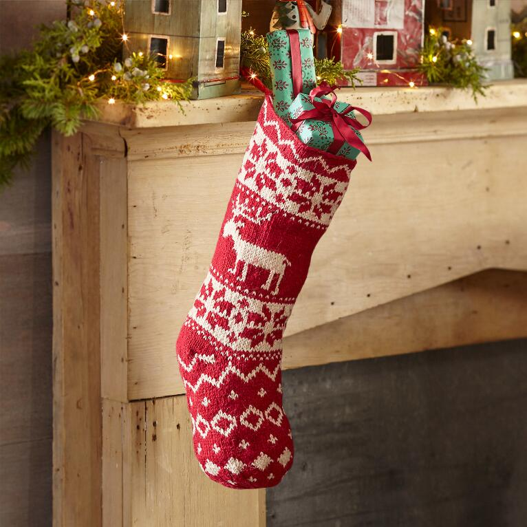 Knitted Christmas Stockings.Heirloom Reindeer Stocking