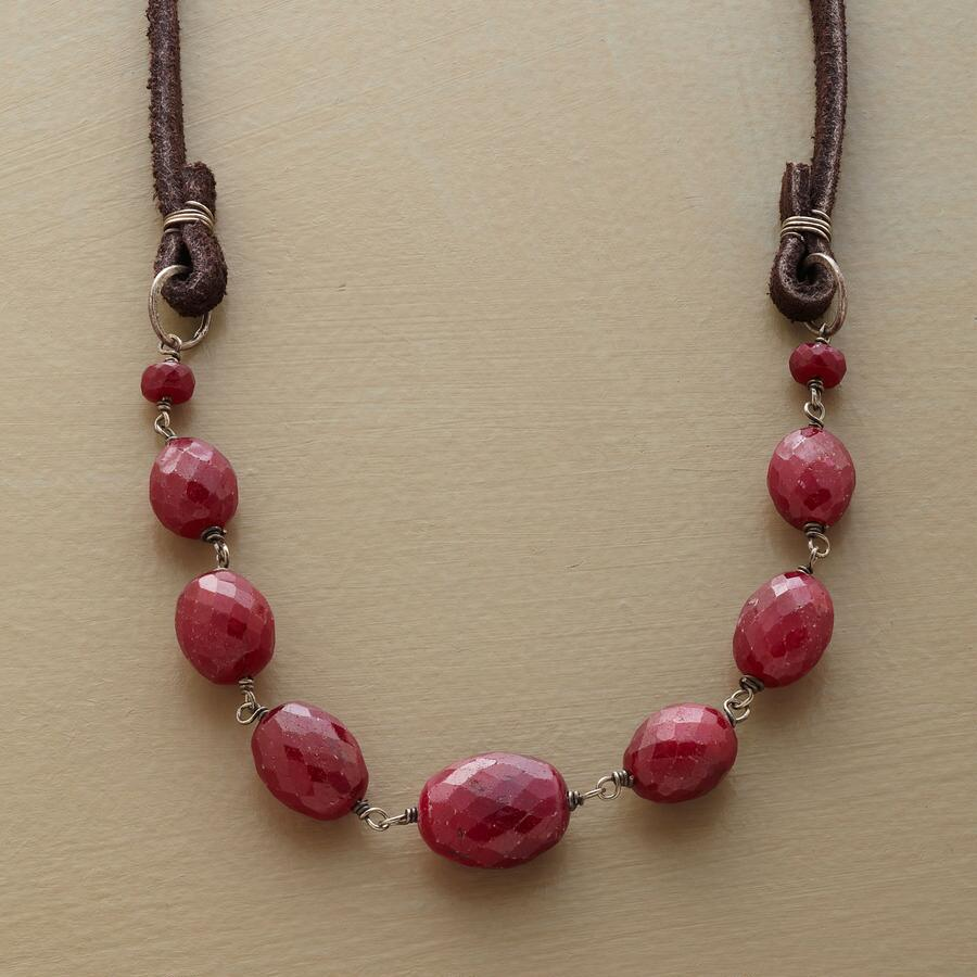 LEATHER RUBY NECKLACE