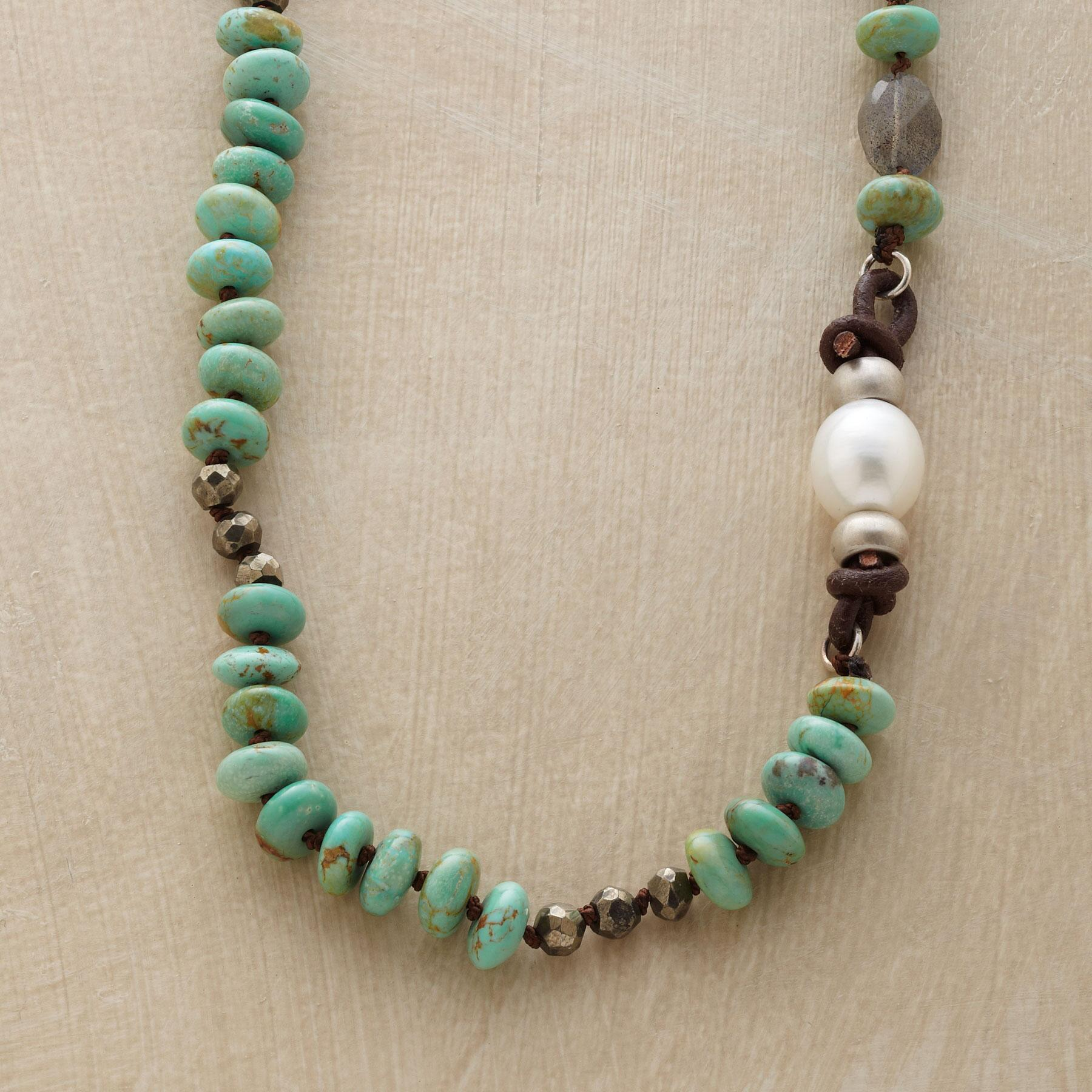 TURQUOISE & PEARL ASYMMETRY NECKLACE: View 1