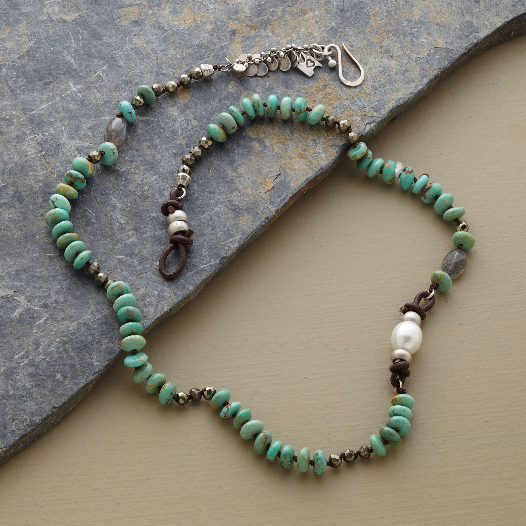 TURQUOISE & PEARL ASYMMETRY NECKLACE: View 2