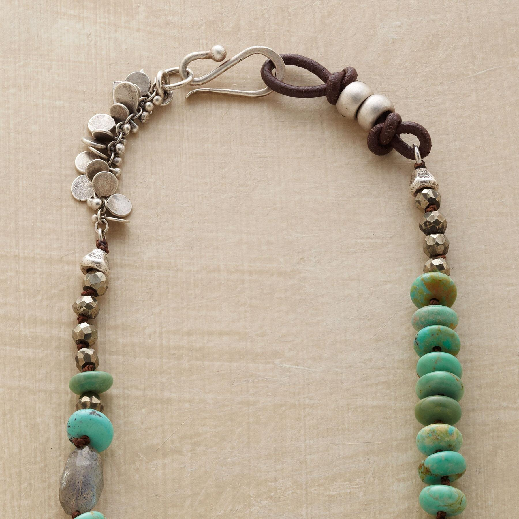 TURQUOISE & PEARL ASYMMETRY NECKLACE: View 3