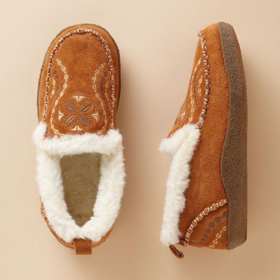 EMBROIDERED SUEDE SLIPPERS