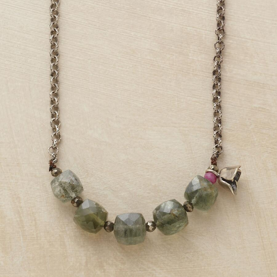 MOSS AQUA CUBE NECKLACE