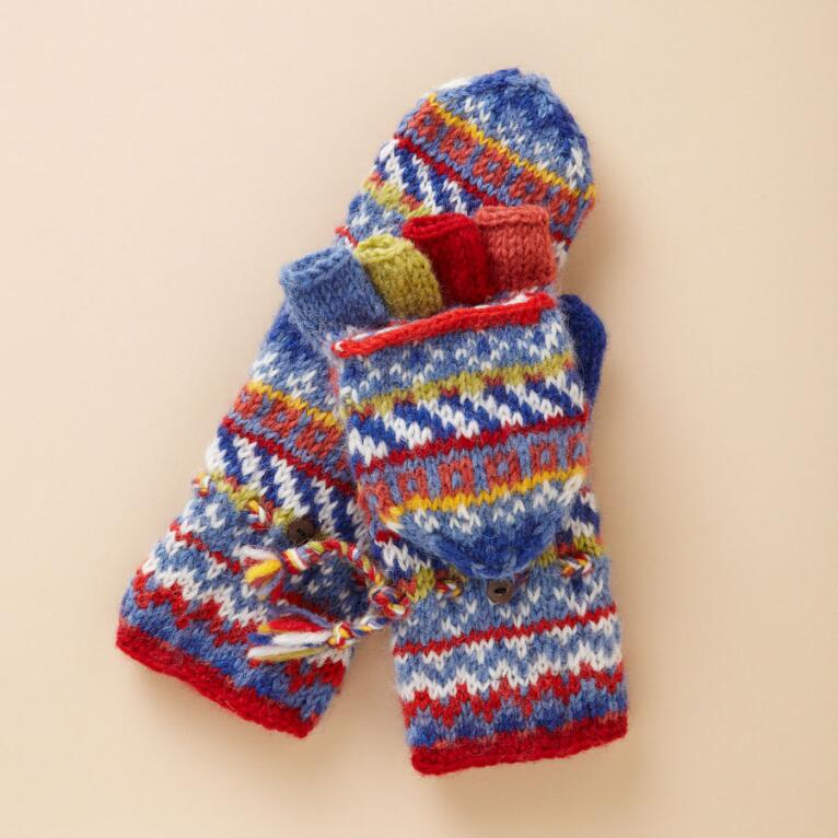 BLUE FOLKLORIC CONVERTIBLE MITTENS