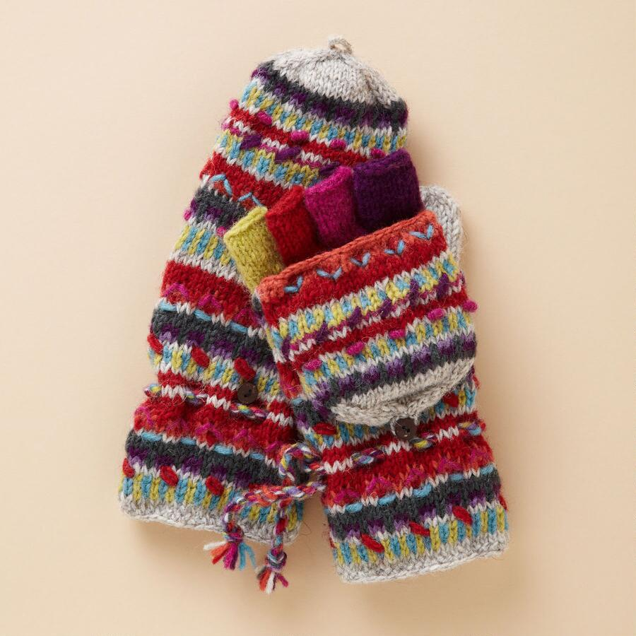 FOLKLORIC CONVERTIBLE MITTENS