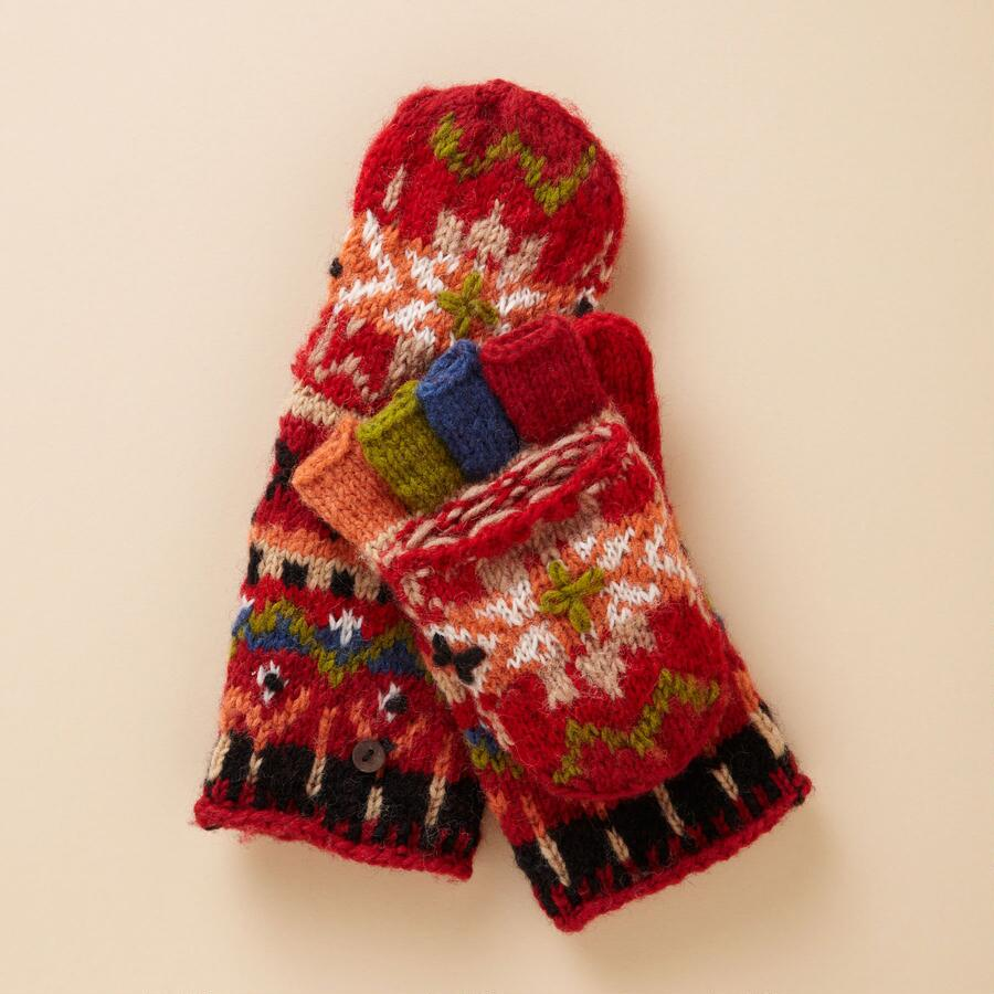 RED FOLKLORIC CONVERTIBLE MITTENS