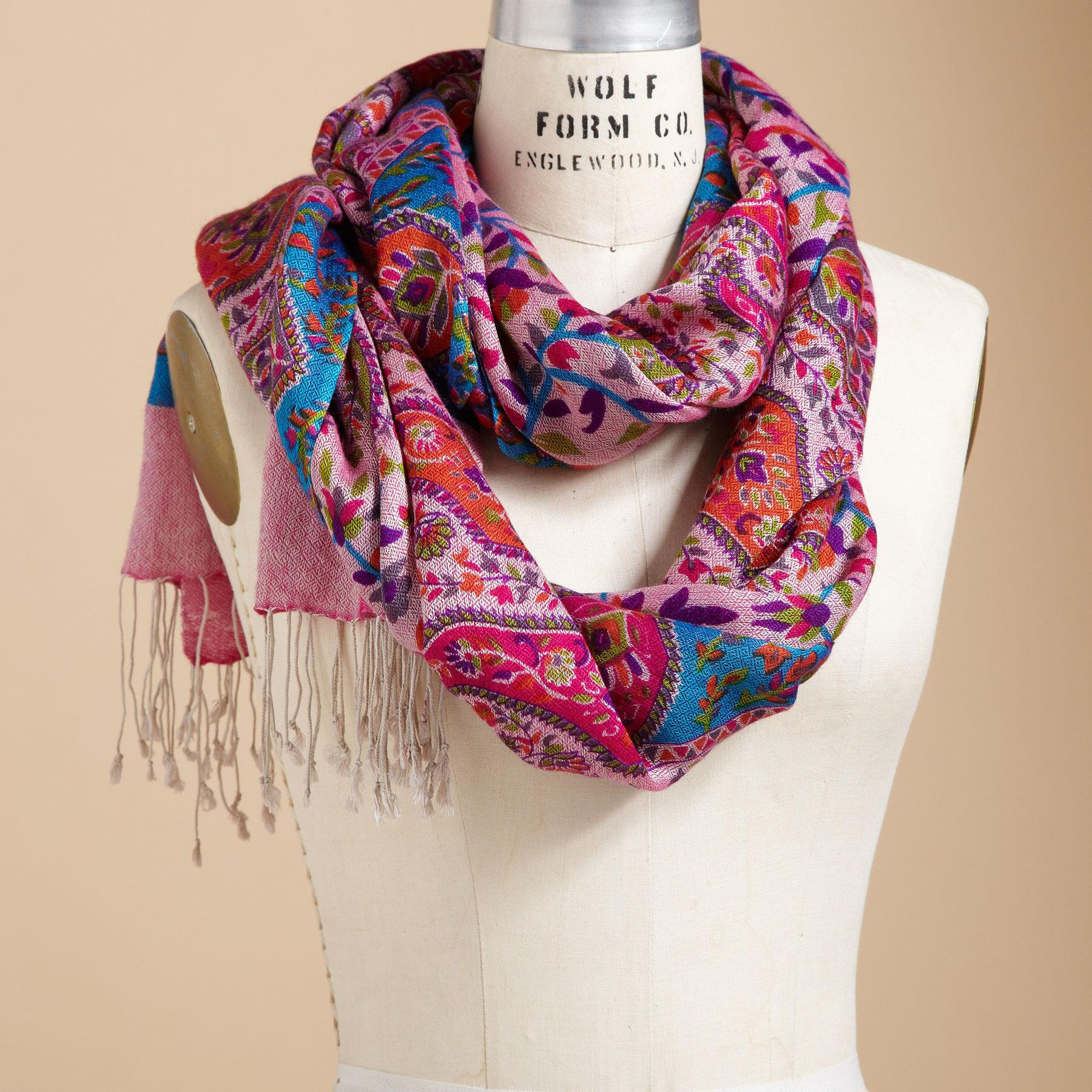 PINK PAISLEY SCARF: View 1