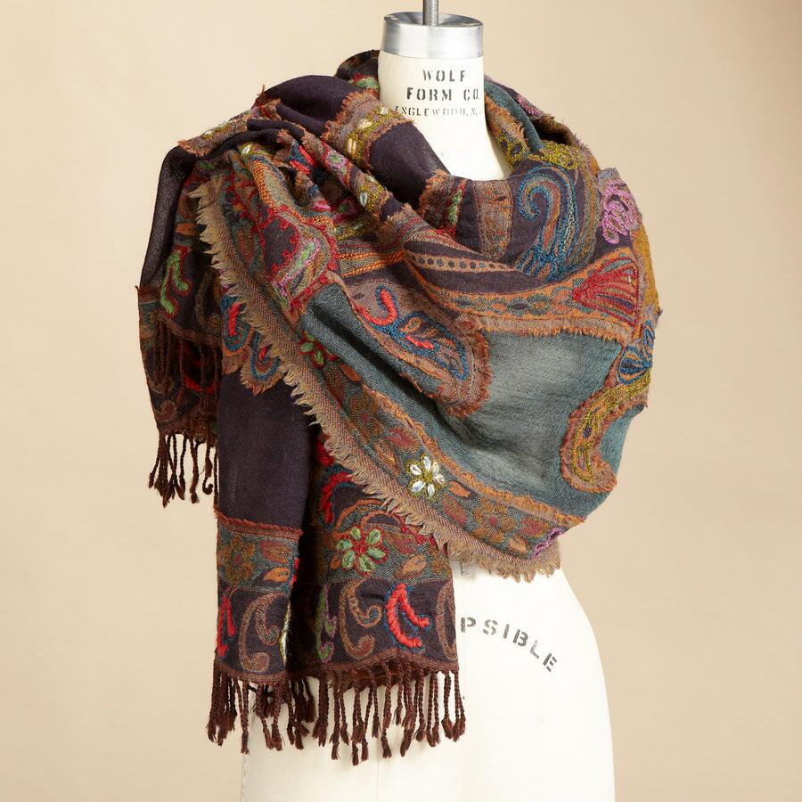 PAISLEY CREWELWORK WOOL SCARF