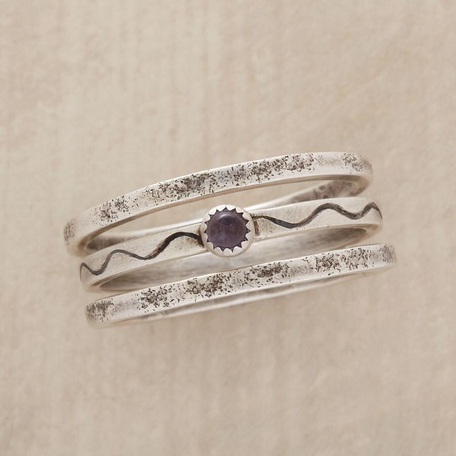 SAWTOOTH IOLITE RING TRIO